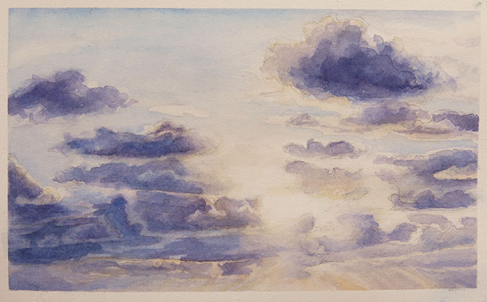 cloudscape. watercolor on fabriano hot press, 6x4 inches