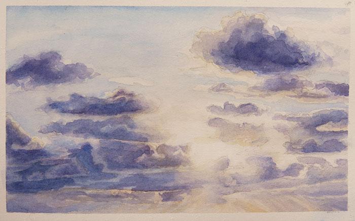 cloudscape. watercolor on fabriano hot press, 6x4 inches